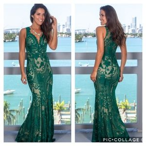 Dresses & Skirts - NWT Green and Nude Embroidered Maxi Dress